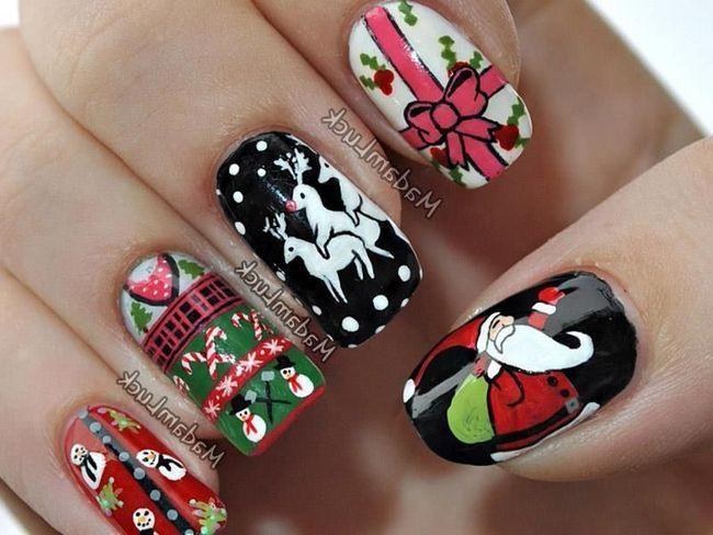Так як зустріч нового року асоціюється з Дідом Морозом, можна прикрасити нігті у вигляді його шапочки. Для цього необов`язково йти в дорогі салони.