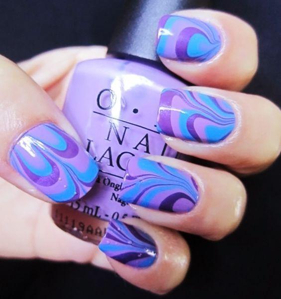 Водний манікюр у фіолетовій стилі